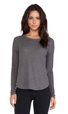alo Extreme Curved Long Sleeve Top in Dark Heather Grey