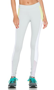 alo Ascendant Legging in Stone Grey, Sunny Lime & White