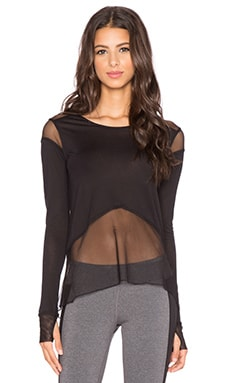 alo Sheer Panel Long Sleeve Top in Black