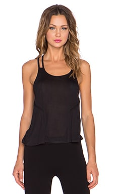 alo Lineal Tank in Black & Black