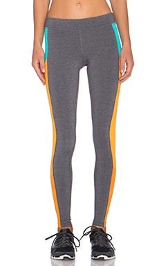 alo Ascedant Legging in Stormy Heather, Aqua & Flame Orange