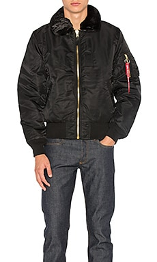 B-15 Slim Fit Bomber with Faux Fur Collar in Black