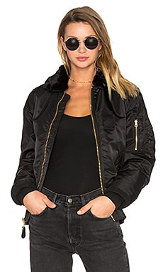 B-15 Slim Fit Bomber with Faux Fur Collar en Noir