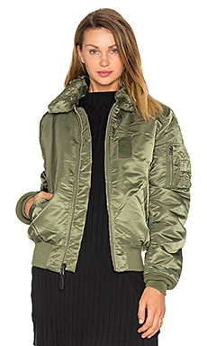 B-15 Slim Fit Bomber with Faux Fur Collar  in Sage