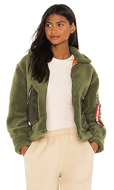 Cropped Sherpa Utility Jacket ALPHA INDUSTRIES $180 NEW