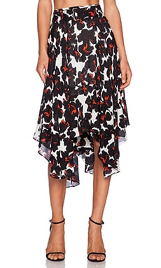 A.L.C. Painted Floral Skirt in White & Black