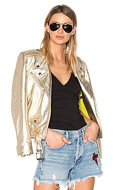 Gem Leather Jacket in Gold