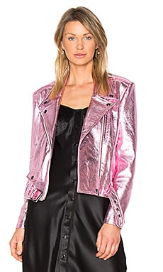 Gem Leather Jacket in Rose Quartz