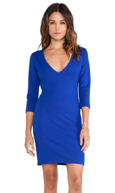 Amanda Uprichard V-Neck Mini Ponte Dress in Royal