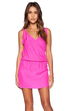Amanda Uprichard Double Crossover Dress in Hot Pink