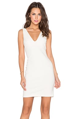 Amanda Uprichard Deep V Dress in Ivory