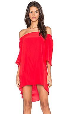 X REVOLVE Nirvana Off the Shoulder Dress in Candy Apple