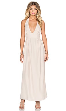Amanda Uprichard Mercer Halter Maxi Dress in Bone
