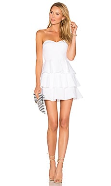 Tiered Ruffle Dress in White Pique
