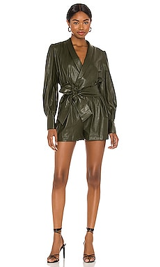 X REVOLVE Leather Studio Romper Amanda Uprichard $246