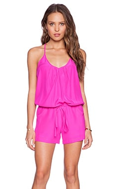 Amanda Uprichard Chrissy Romper in Hot Pink Light