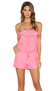 Amanda Uprichard Joan Romper in Pink Ribbon
