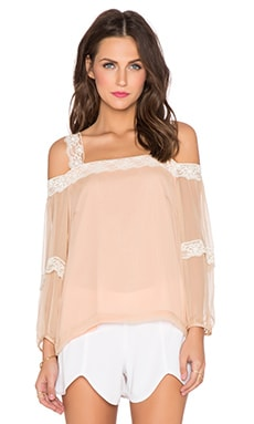 Amanda Uprichard Dakota Lace Top in Earth
