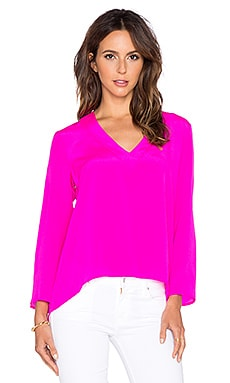 Amanda Uprichard Heather Long Sleeve Top Hot Pink Light