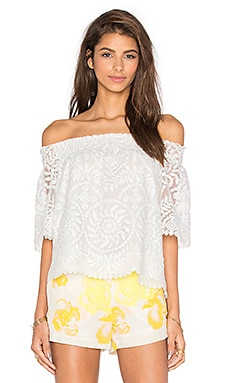 Amanda Uprichard Wesley Off the Shoulder Top in Organza Embroidery