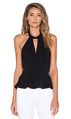 Cecily Peplum Top in Black