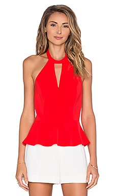 Amanda Uprichard Cecily Peplum Top in Candy Apple