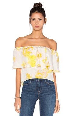 Amanda Uprichard Kiara Off the Shoulder Top in Yellow Rose