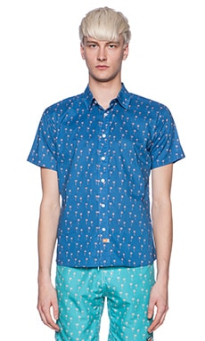 Ambsn Palmy Button Down in Blue