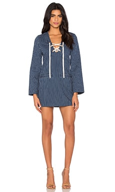 Lily's Lyrics Dress in Indigo Pinstripe