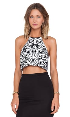 Alice McCall Liliana Crop Top in Forest Flocking