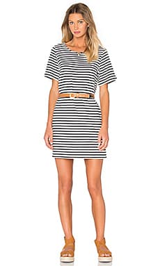 LikaStreet Tee Dress in Ecru Striped Navy