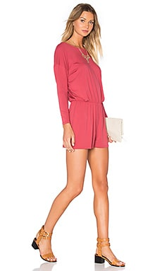 American Vintage Cyokerstate Long Sleeve Romper in Berry