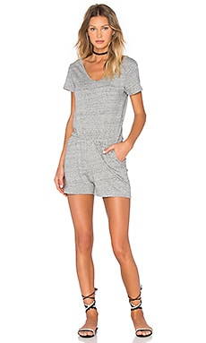 American Vintage Dizlake Short Sleeve Romper in Heather Grey