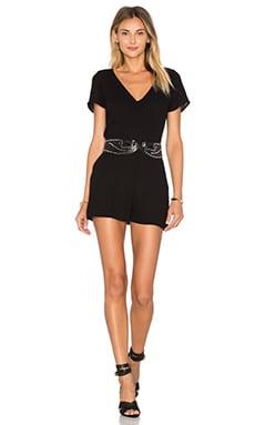 American Vintage Magdalena Short Sleeve Romper in Black