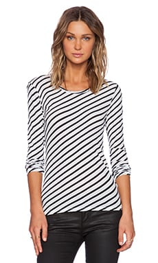 American Vintage Long Sleeve Shirt in White Striped Black