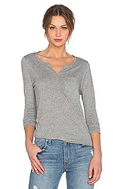 American Vintage Sandy Sky Long Sleeve Henley in Heather Grey