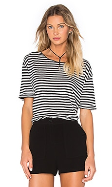 American Vintage Popilane Short Sleeve Tee in Pearl Striped Black