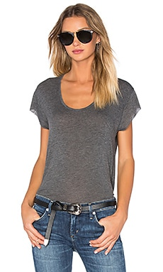 Pulasky Scoop Neck Tee in Charcoal Melange