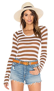 American Vintage Massachussets Top in Truffle Stripe White
