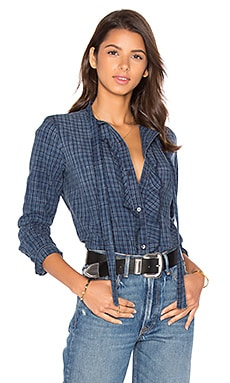 AMO Olivia Button Up in Indigo Check