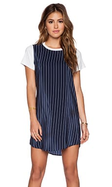 amour vert Farah Dress in Navy Stripe & White