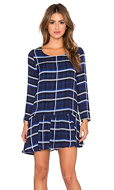 amour vert Pilar Long Sleeve Dress in Plaid Blue Print