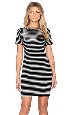 amour vert Loti Dress in Black & Ivory Stripe