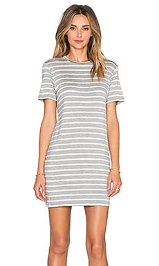 amour vert Brigette T Shirt Dress in Heather Grey & Ivory Stripe