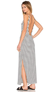 Brynn Maxi Dress in Ivory & Navy Stripe