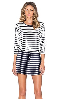 Galina Drop Waist Dress in Ivory & Navy Stripe
