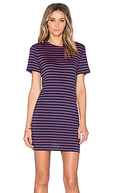 Brigette Tee Dress in Navy & Pink Stripe