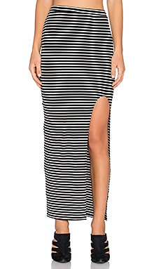 amour vert Zamora Maxi Skirt in Black & Ivory Stripe