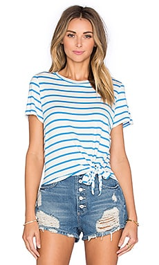 Julita Short Sleeve Tie Tee in Ocean Stripe