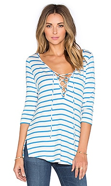 Bristol Lace Up Tee in Ocean Stripe